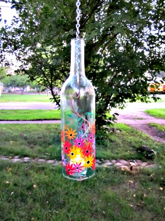 Recycled Wine Bottle Garden Light Hanging Candle Holder Hand