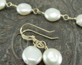 Petite White Coin Pearl Bracelet and Earring Set by Screaming Peacock Jewelry