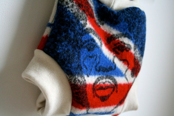 jimi hendrix large wool cover - diaper nappy cover - reclaimed wool and organic wool - UK flag