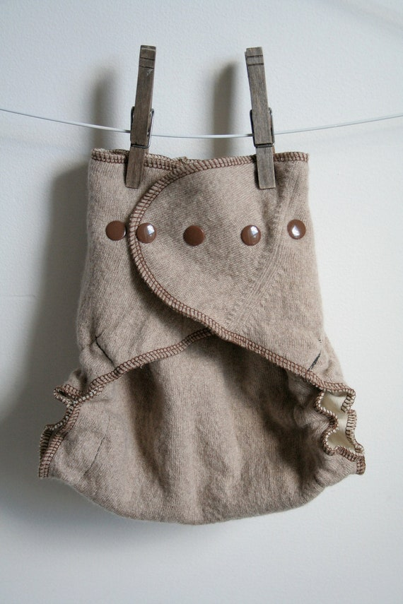 brown and light brown - wool cover for cloth nappies - plastic free diaper cover - neutral - one size fits all