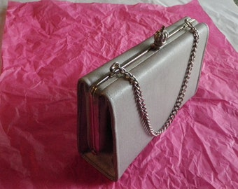 Vintage Upcycled Crown Clasp Evening Bag