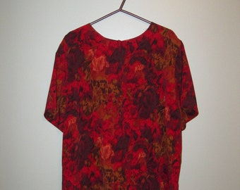 Vintage 80s Red Abstract Animal Print Short Sleeve Blouse - Valentine's Day - Women's - M