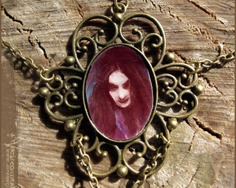 Purple witch illustrated necklace - illustrated jewelry