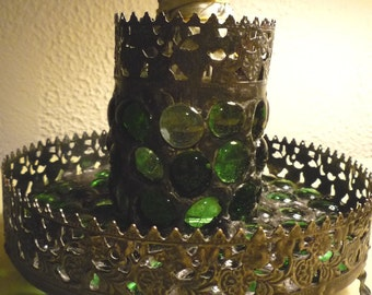 Ornate Gothic Green Stained Glass Mosaic Smudge Pot / Storage and Candle Holder