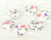 Fabric Buttons - Pink and Purple Flowers - 6 Small Shabby Cottage Chic Floral Fabric Covered Buttons, Handmade Button for Sewing Knitting