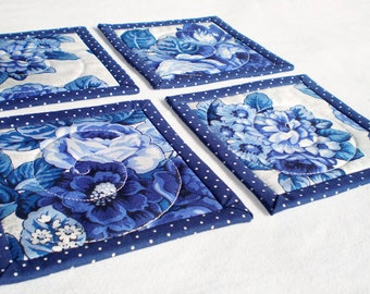 Fabric Coasters - Quilted Blue Roses, Delft Flowers, 4 Reversible Mini Quilts Candle Mat Set, Blue and White China Porcelain, Mug Rug Set