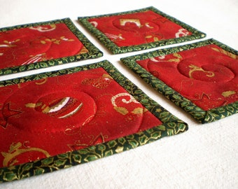 Fabric Coasters - Red Houses and Ornaments - 4 Reversible Patchwork Mini Quilts Candle Mat Set - Christmas Quilted Red, Green and Gold Home
