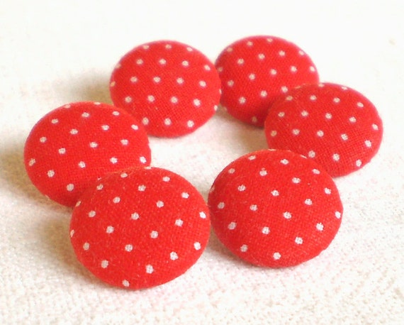 Fabric Buttons - Little Red Polka Dots - 6 Small Red and White Fabric Covered Buttons