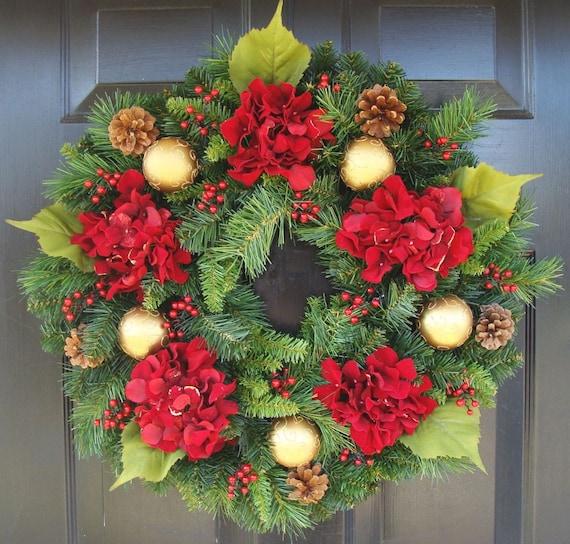 Holiday Wreath- Hydrangea Wreath- Christmas Wreath- Winter Wreath- Door Wreath