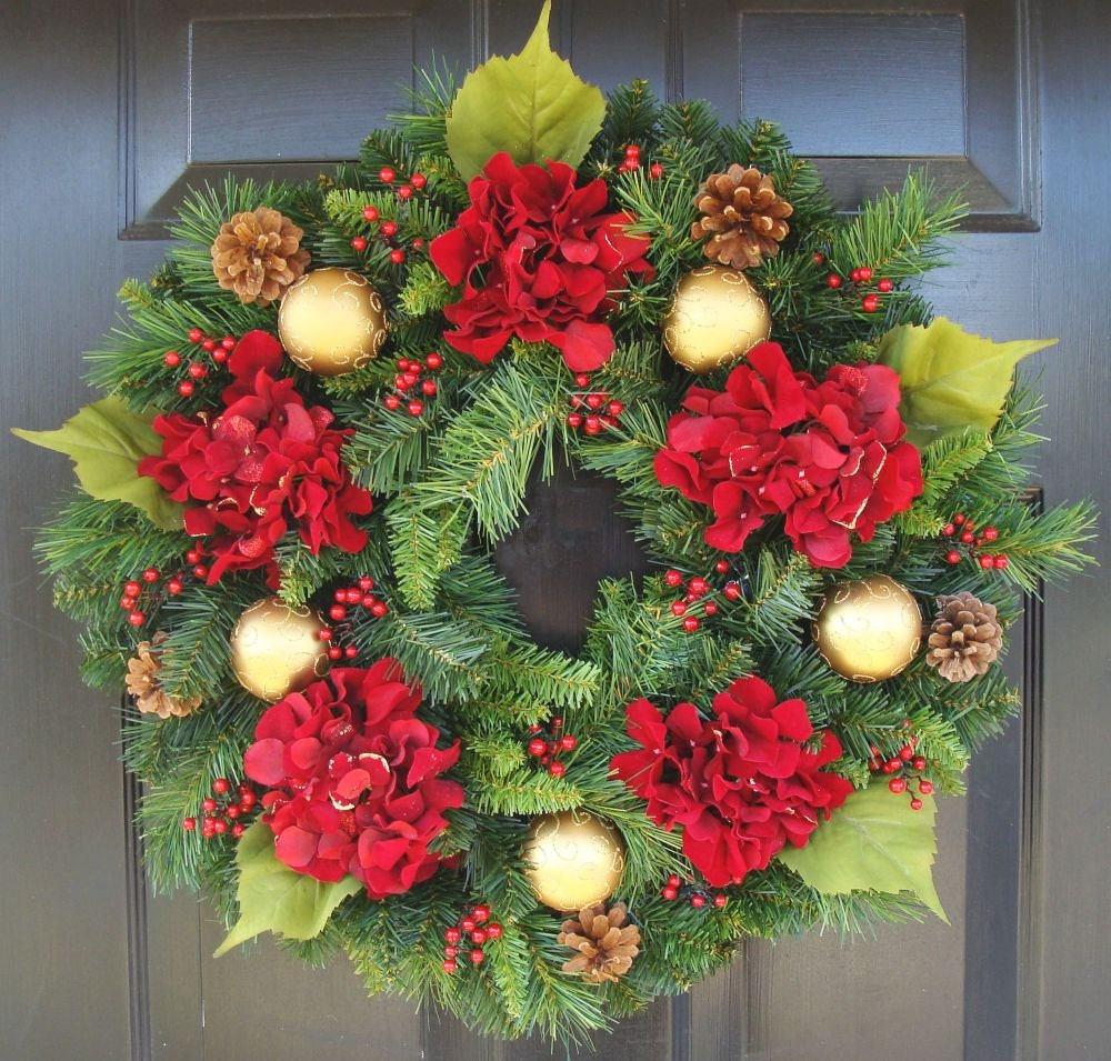 Holiday wreath hydrangea wreath christmas wreath winter Christmas wreath decorations