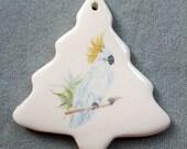 Cockatoo, tree ceramic ornament, 22k gold decor, free personalizing by Nicole