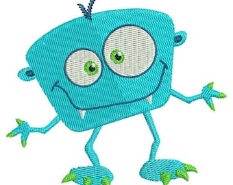Silly Monster III Filled Machine Embroidery Design 4x4 and 5x7 Instant Download
