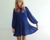 Sheer Cobalt Blue LS Mini Secretary Dress - Vintage 80s - MEDIUM LARGE Petite