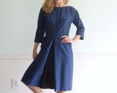 5th Avenue Vintage 50s Half Sleeve Fitted Navy Blue Knee Length Dress SMALL S