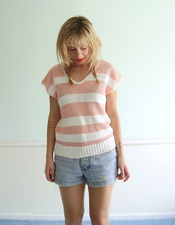 Pink and White Striped Short Sleeve Knit Sweater Top - Vintage 80s - Back to School Prep