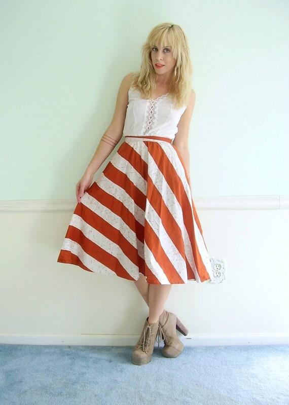 70s Striped High Waist Full Circle Skirt Rust Red and White XXS XS