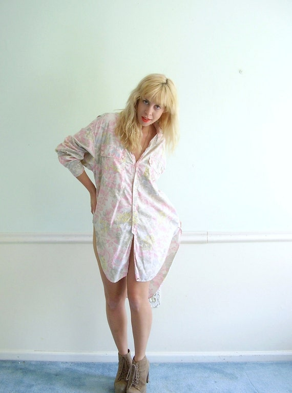 Floral Printed LS Hi Low Hem Layering Tunic Shirt Mini Dress Early 90s Vintage OSFM