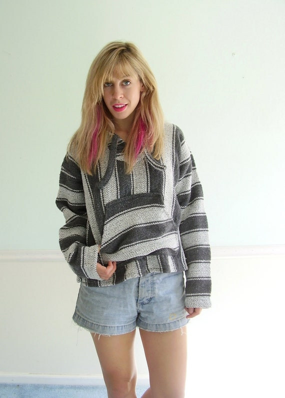 Striped 90s Hooded Woven Mexican Style Drug Rug Hoodie Jacket Coat - SMALL