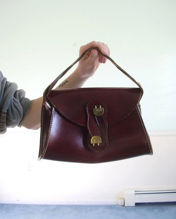 Bridle and Buckle Vintage 60s 70s Genuine Leather Shoulder Bag with Braided Strap