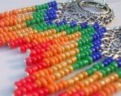 Custom Listing / Beaded  Rainbow Chandelier earrings/ Red, Orange, Yellow, Green, Blue