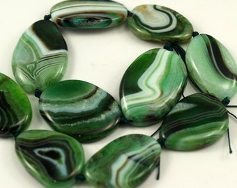 Green Striped Agate 37-42 mm Faceted Gemstone Beads Full Strand T013