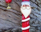 Candy Cane Santa Ornament with Bells