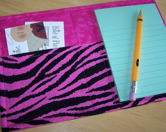 Mini List Taker, Organizer, Coupon Holder, Hot Pink Zebra, Notepad And Pen/Pencil Included