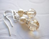 Swarovski Cream Pearl and Crystal Golden Shadow Earrings, Sterling Silver, Champagne, Ivory, Bridal, Bridesmaid