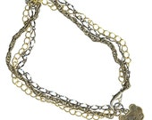three chains bracelet or anklet Chinese coin antique brass gunmetal