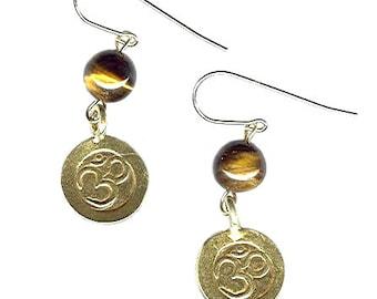 Vermeil Om Aum 13mm earrings with gemstones