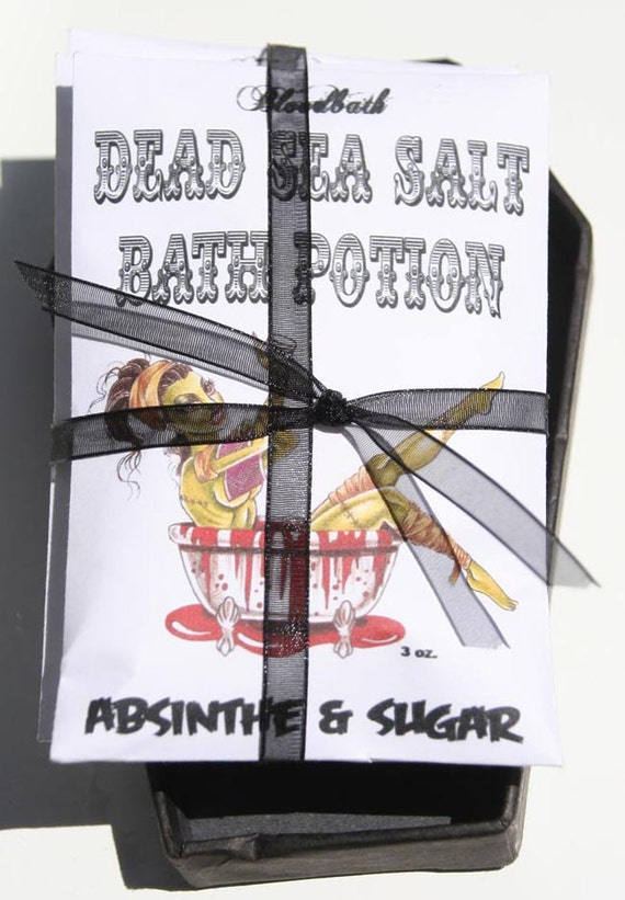 Bloodbath 3 Pack DEAD SEA SALT Halloween Bath Potion Absinthe and Sugar