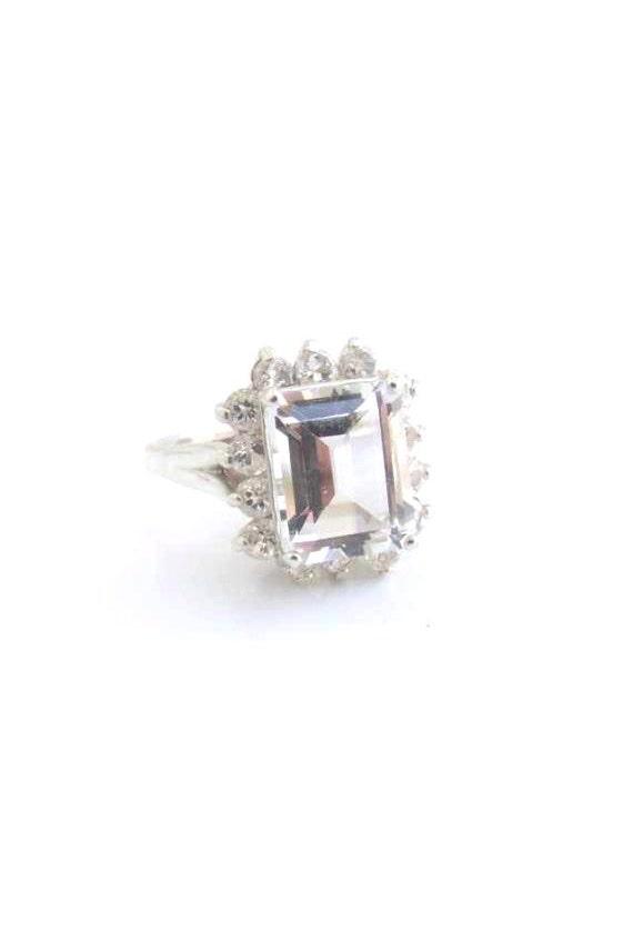 White Topaz Ring Emerald Cluster Sterling Silver April birthstone