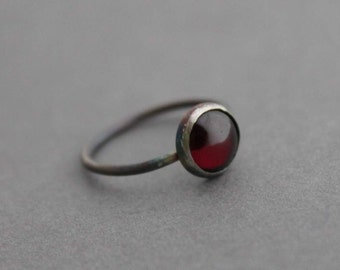 Oxidized Sterling and Garnet Ring - Size 5