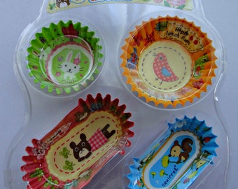 Cute Animals Round And Oval Polyethylene Lined Paper Cupcake Cups / Bento Liners - Bunny Rabbit, Bird, Bear, Squirrel