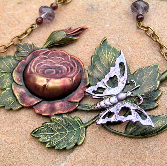 Metal Rose Necklace, Garden Jewelry, Inked Metal, Rose Jewelry, Butterfly Jewelry, Metal Jewelry, Spring Jewelry,