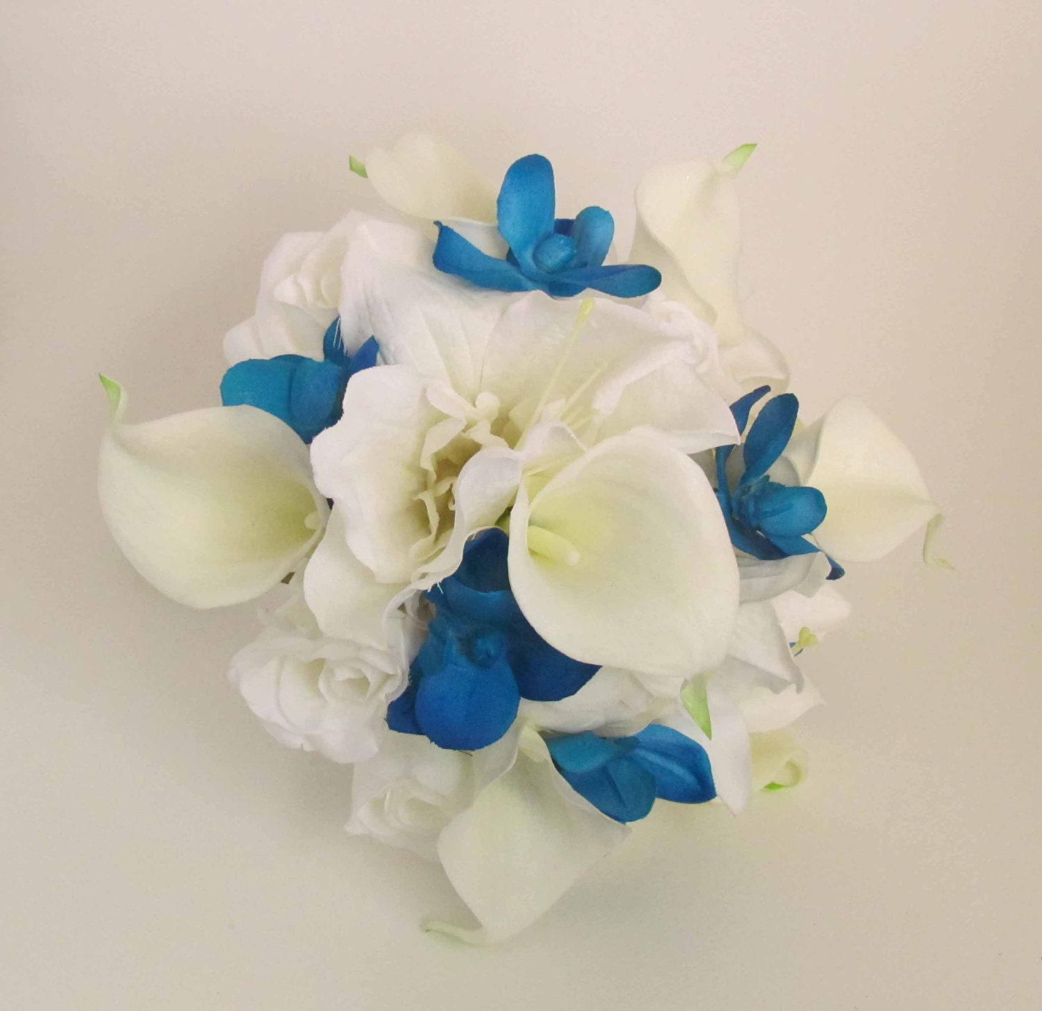 Blue orchid white calla lily bouquet ready to ship by