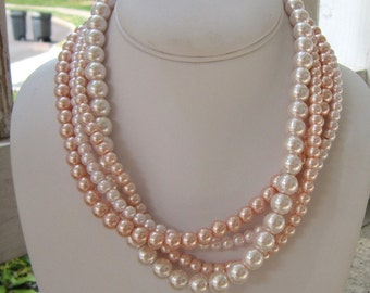 Chunky Pink Necklace, Pink Pearl Jewelry, Blush Pink Jewelry, Blush Pink Necklace, Gifts for Her, Light Pink Necklace, Pink Pearls, Pinked