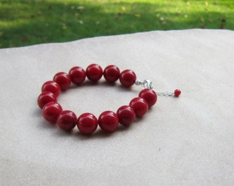 Red Bracelet, Red Jewelry, Chunky Red Bracelet, Large Red Beads, Gofts for Her, Red Hot