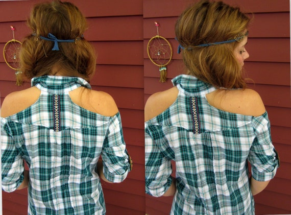 Blue White Open Cold Shoulder Upcycled Plaid Button Up Tunic Top Blouse Size Large by MountainGirlClothing