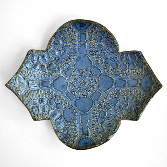 geometric ceramic plate blue lace Geo series modern ceramics