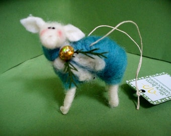 Christmas Lamb Felted Wool Ornament