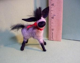 Miniature Donkey Felted Wool Ornament