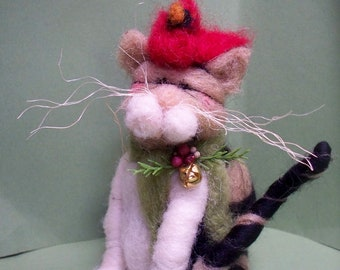 Cat Bird Seat Felted Wool Ornament