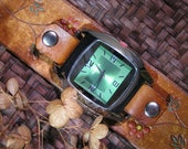 Hand-Carved, Hand-Painted Tan Bohemian Leather Snap-On Cuff Watch