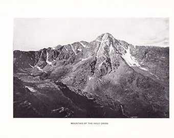 1903 Photograph - Mountain of the Holy Cross - Vintage Antique Home Decor Book Plate Art for Framing 100 Years Old