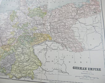1895 Map German Empire - Vintage Antique Map Great for Framing 100 Years Old
