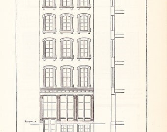 1892 Architecture Print - Building Front - Vintage Antique Art Illustration Interior Design Great for Framing 100 Years Old