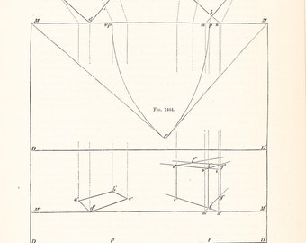 1886 Technical Drawing - Antique Math Geometric Mechanical Drafting Interior Design Blueprint Art Illustration Framing 100 Years Old