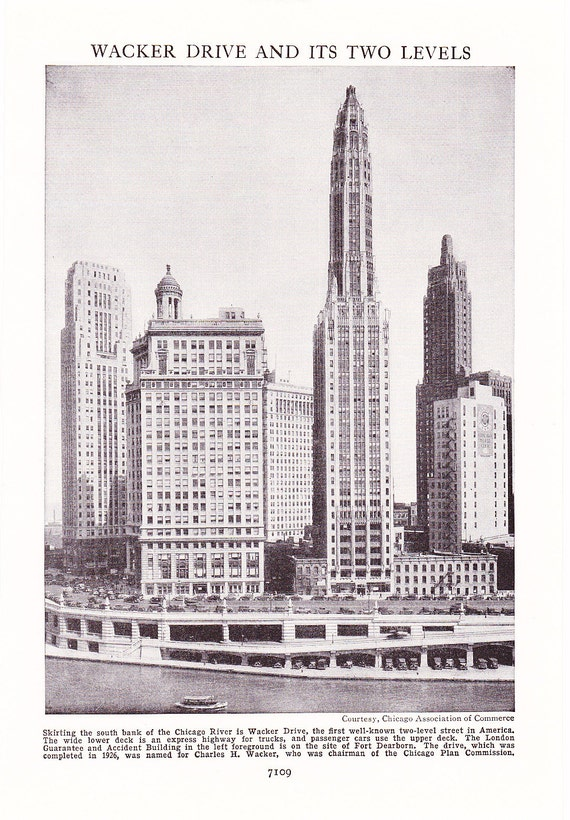 1947 Print Chicago Wacker Drive Upper and Lower - Vintage Antique Home Decor Art Photograph for Framing