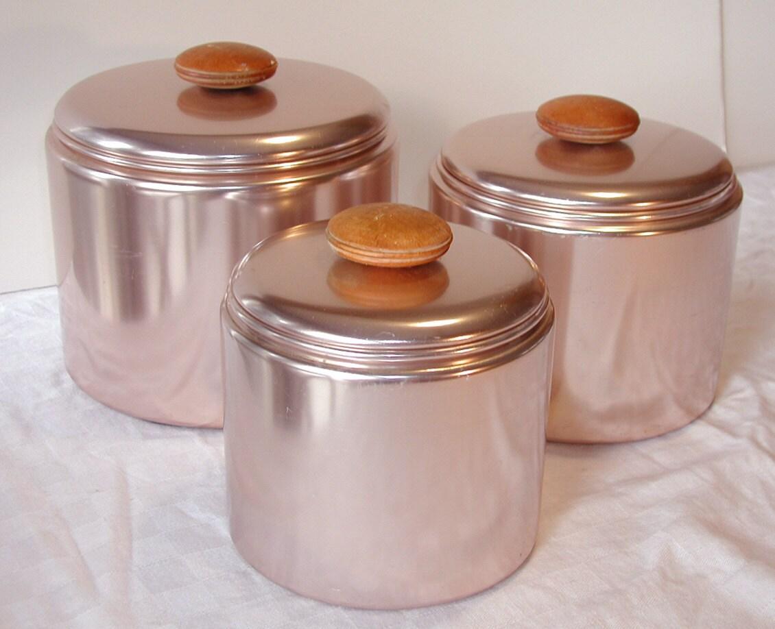 Mirro kitchen canisters vintage set of 3 metallic pink metal for Kitchen set 008 58
